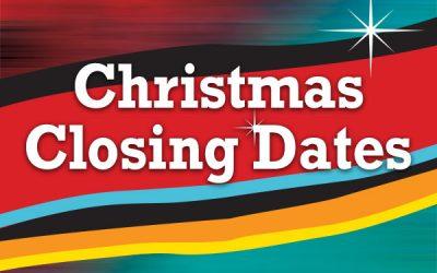 BRAMS Christmas Closing Hours